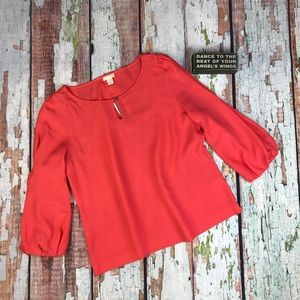 J. Crew Collection Coral Puff Sleeve Blouse Plus